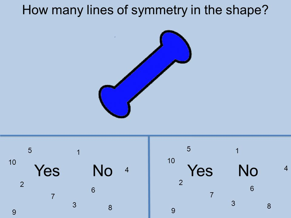 1 2 3 4 5 6 7 8 9 10 1 2 3 4 5 6 7 8 9 YesNo How many lines of symmetry in the shape