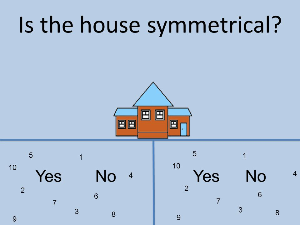 1 2 3 4 5 6 7 8 9 10 1 2 3 4 5 6 7 8 9 YesNo Is the house symmetrical