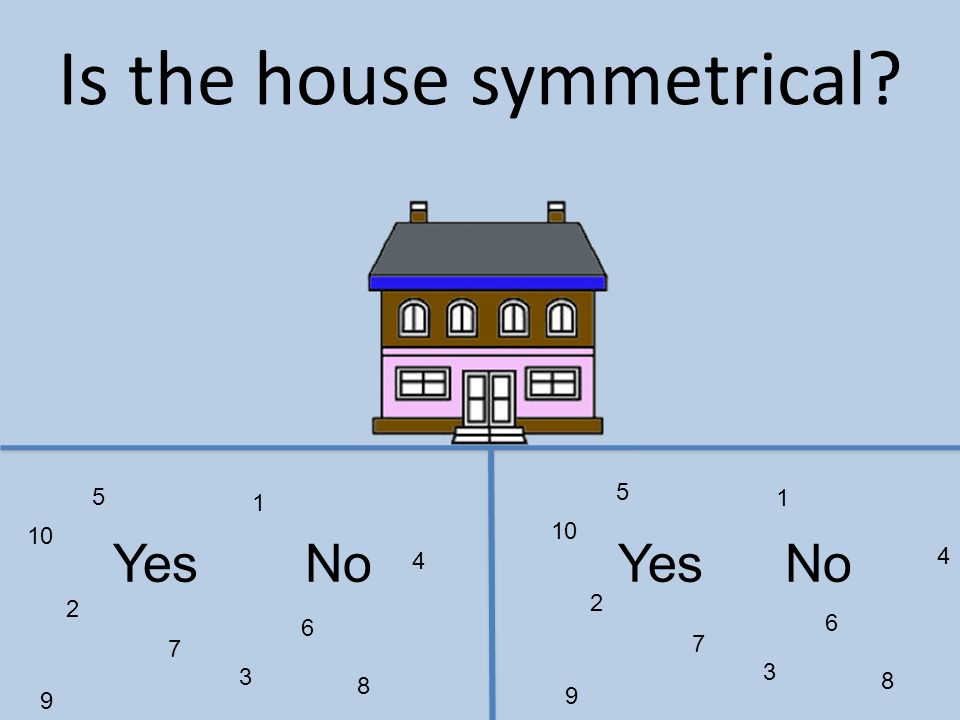 1 2 3 4 5 6 7 8 9 10 1 2 3 4 5 6 7 8 9 YesNo Is the house symmetrical?