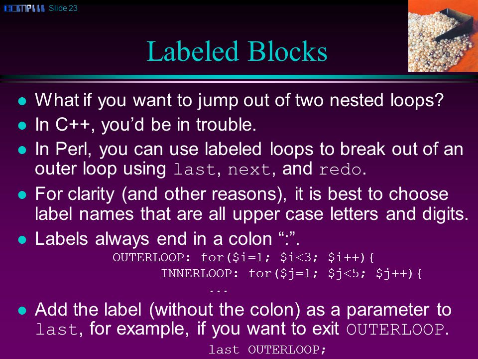 Slide 23 Labeled Blocks l What if you want to jump out of two nested loops.