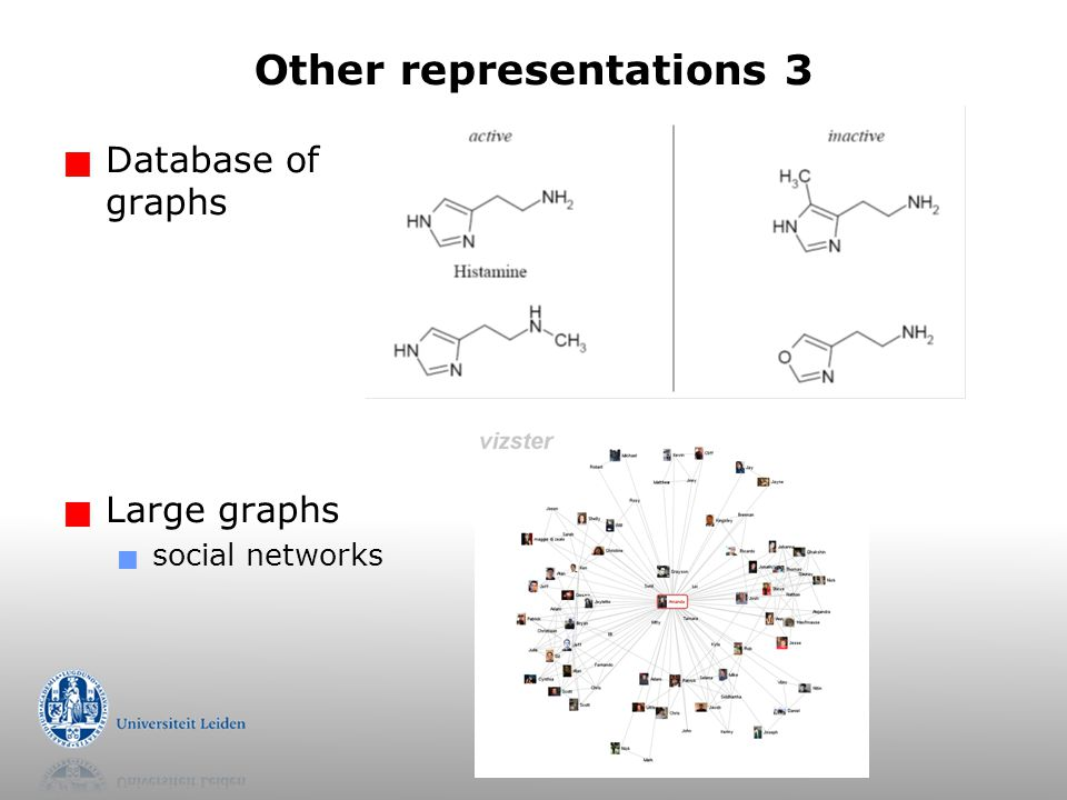 Other representations 3  Database of graphs  Large graphs  social networks