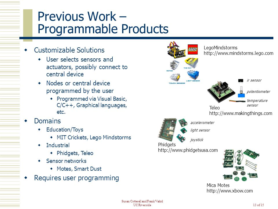 Susan Cotterell and Frank Vahid UC Riverside13 of 15 Previous Work – Programmable Products  Customizable Solutions  User selects sensors and actuators, possibly connect to central device  Nodes or central device programmed by the user  Programmed via Visual Basic, C/C++, Graphical languages, etc.