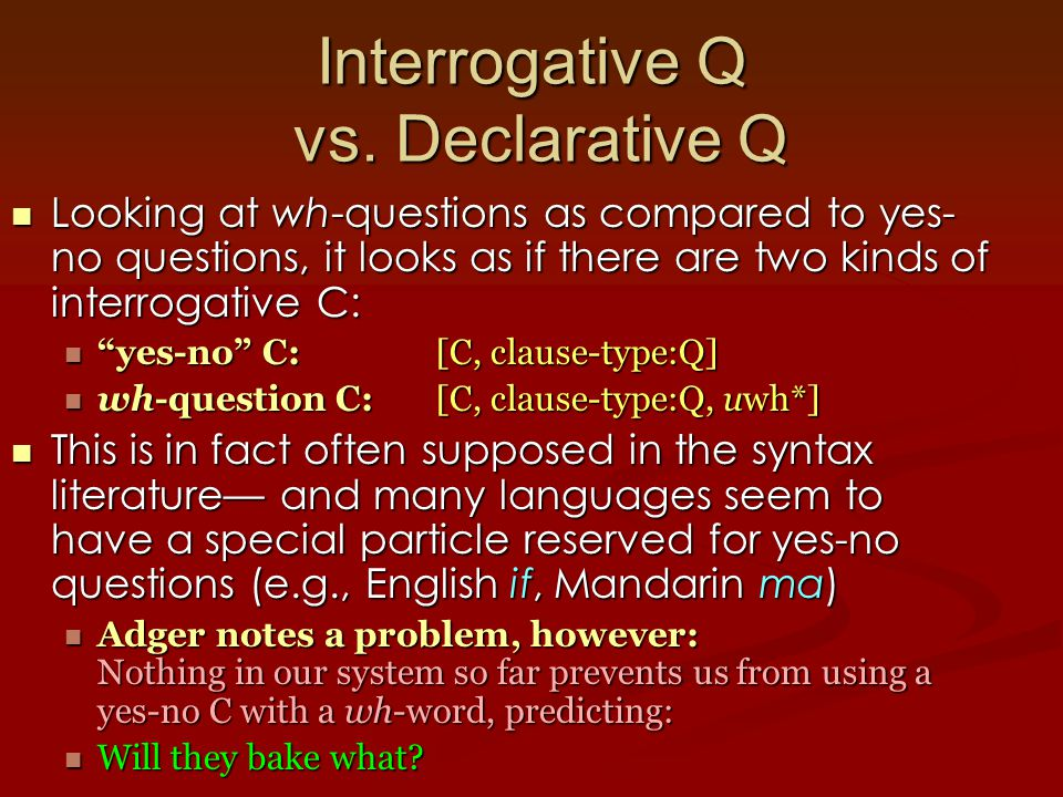 Interrogative Q vs.