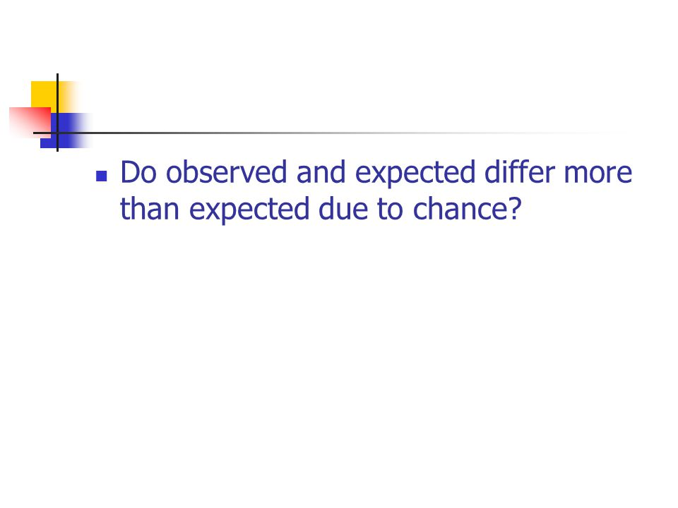 Do observed and expected differ more than expected due to chance?