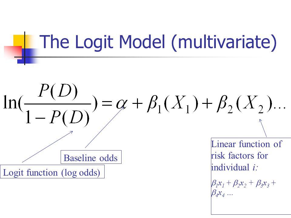 The Logit Model (multivariate) Logit function (log odds) Baseline odds Linear function of risk factors for individual i:  1 x 1 +  2 x 2 +  3 x 3 +  4 x 4 …