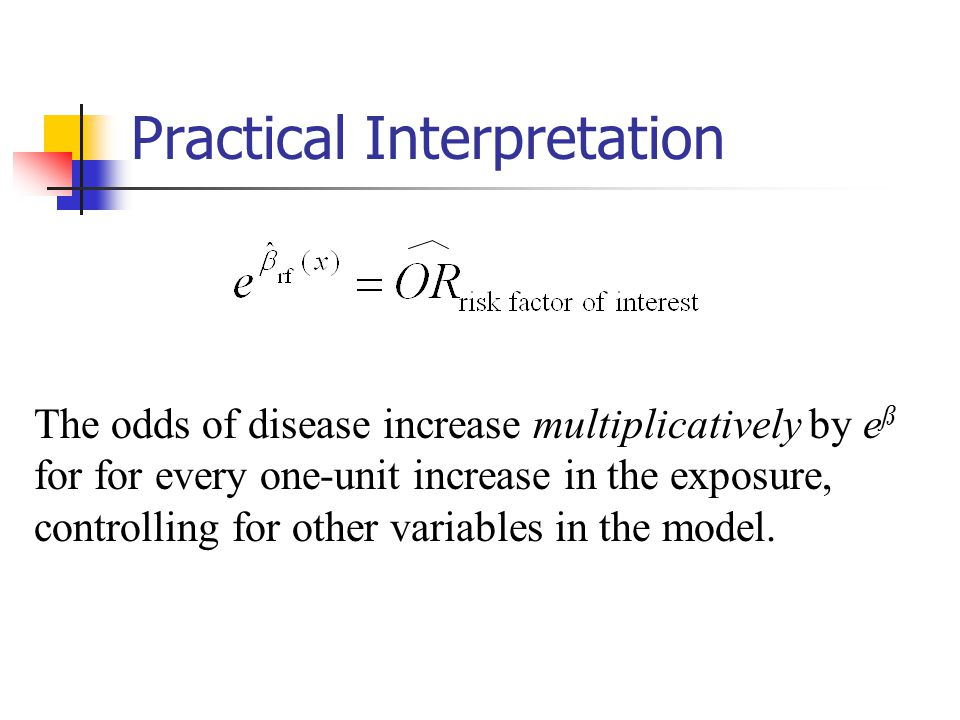 Practical Interpretation The odds of disease increase multiplicatively by e ß for for every one-unit increase in the exposure, controlling for other variables in the model.