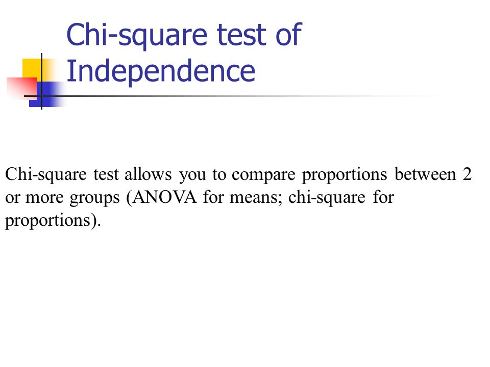 Chi-square test of Independence Chi-square test allows you to compare proportions between 2 or more groups (ANOVA for means; chi-square for proportions).
