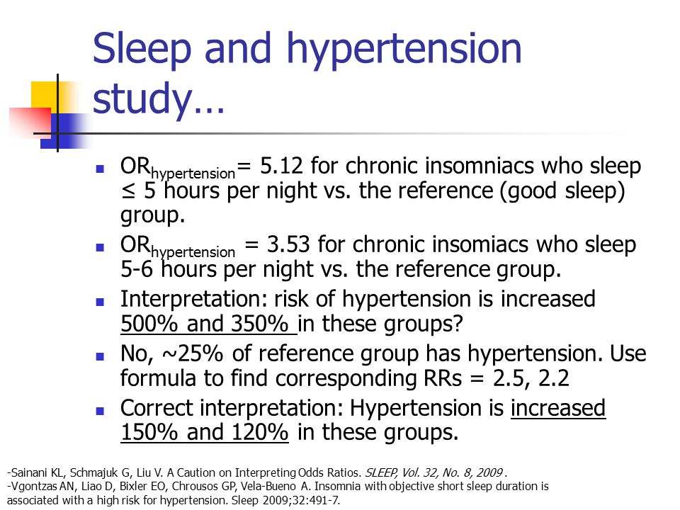 Sleep and hypertension study… OR hypertension = 5.12 for chronic insomniacs who sleep ≤ 5 hours per night vs. the reference (good sleep) group. OR hyp