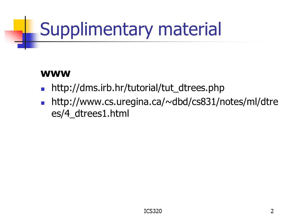 ICS3202 Supplimentary material www http://dms.irb.hr/tutorial/tut_dtrees.php http://www.cs.uregina.ca/~dbd/cs831/notes/ml/dtre es/4_dtrees1.html