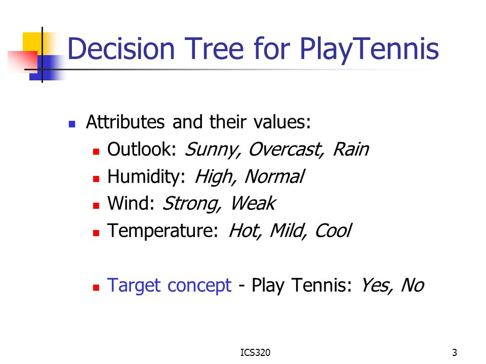 ICS3203 Decision Tree for PlayTennis Attributes and their values: Outlook: Sunny, Overcast, Rain Humidity: High, Normal Wind: Strong, Weak Temperature