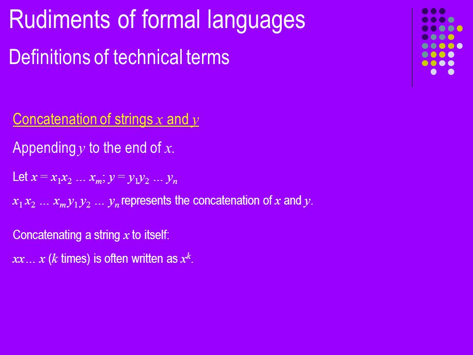 More formally, Σ* = {Strings (over Σ ) of length 0} U {Strings of length 1} U {Strings of length 2} … = Σ 0 U Σ 1 U Σ 2 ….