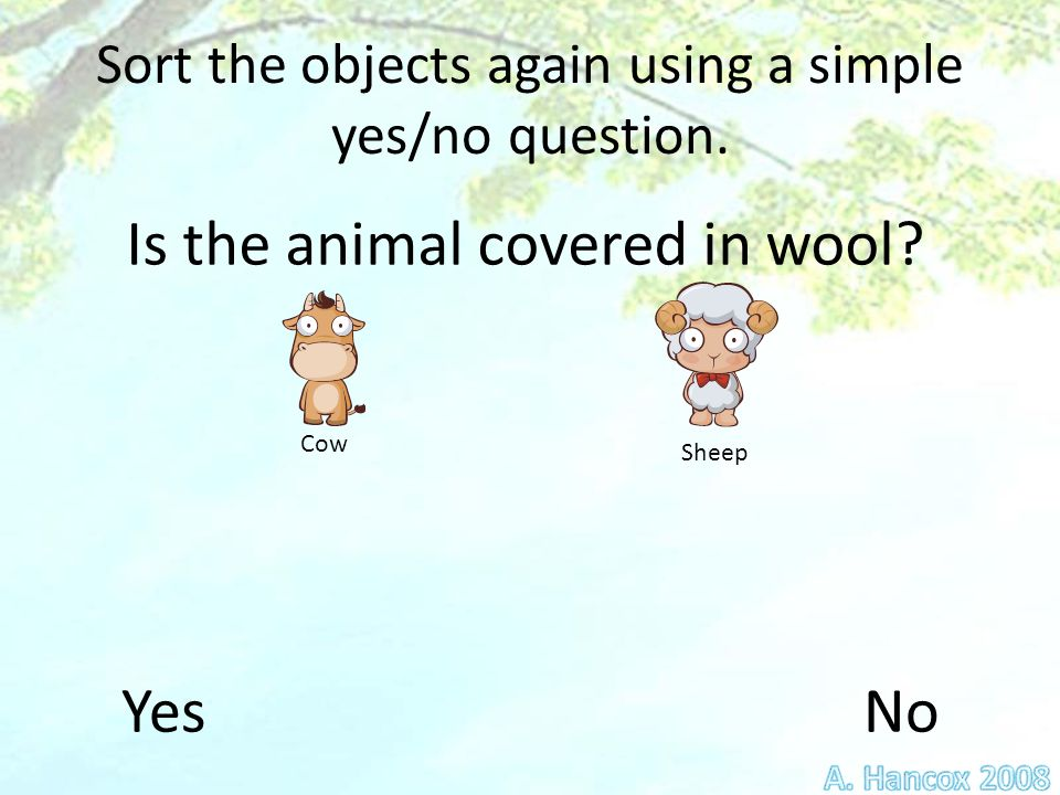 Sort the objects again using a simple yes/no question.