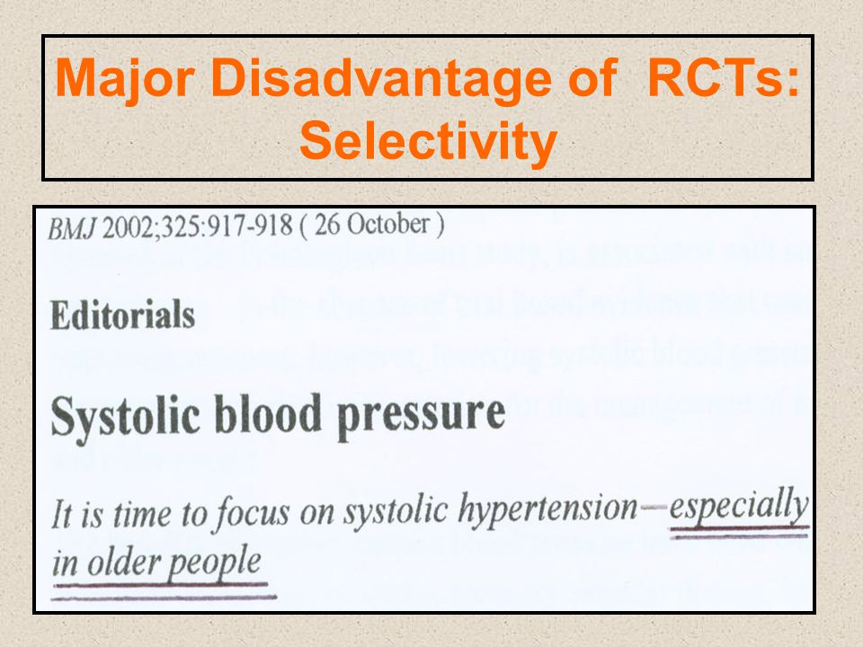 Major Disadvantage of RCTs: Selectivity