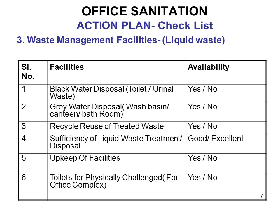 7 OFFICE SANITATION ACTION PLAN- Check List 3. Waste Management Facilities- (Liquid waste) Sl.