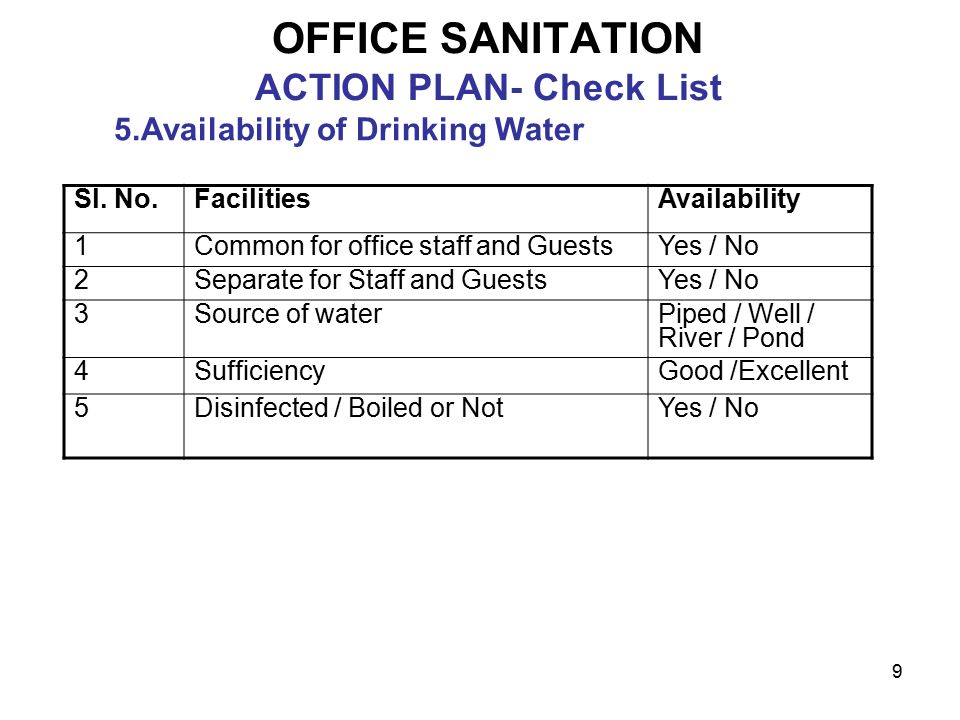 9 OFFICE SANITATION ACTION PLAN- Check List 5.Availability of Drinking Water Sl.