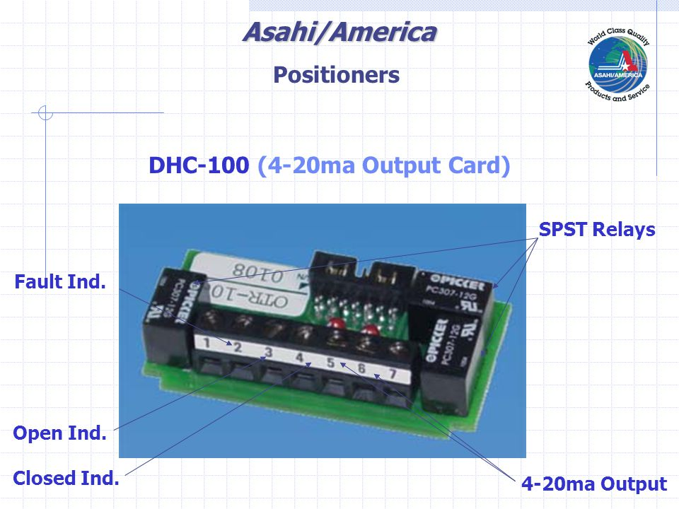 Asahi/America DHC-100 (4-20ma Output Card) SPST Relays 4-20ma Output Open Ind.