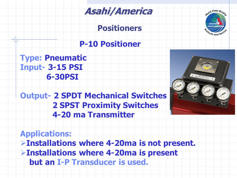 Asahi/America I-P Transducer Supply Air Connection 60-100 Psi 4-20 Ma Input Output Control Air 3-15 Psi or 6-30 Psi Positioners