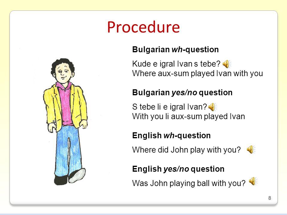 Procedure Bulgarian wh-question Kude e igral Ivan s tebe.