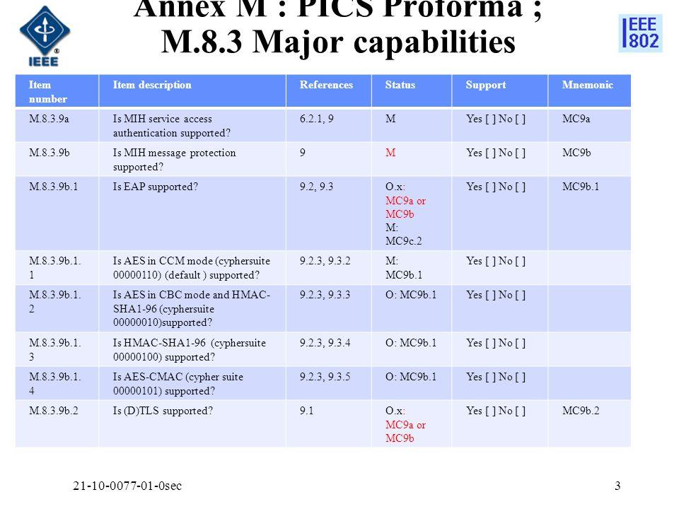 Annex M : PICS Proforma ; M.8.3 Major capabilities Item number Item descriptionReferencesStatusSupportMnemonic M.8.3.9aIs MIH service access authentication supported.