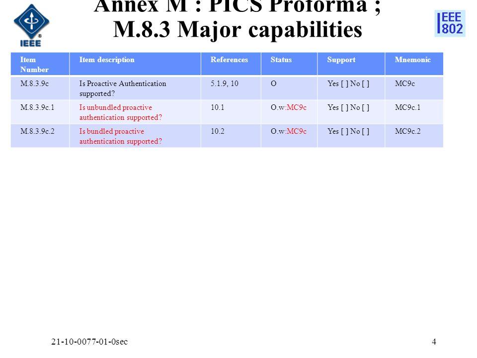 Annex M : PICS Proforma ; M.8.3 Major capabilities Item Number Item descriptionReferencesStatusSupportMnemonic M.8.3.9cIs Proactive Authentication supported.