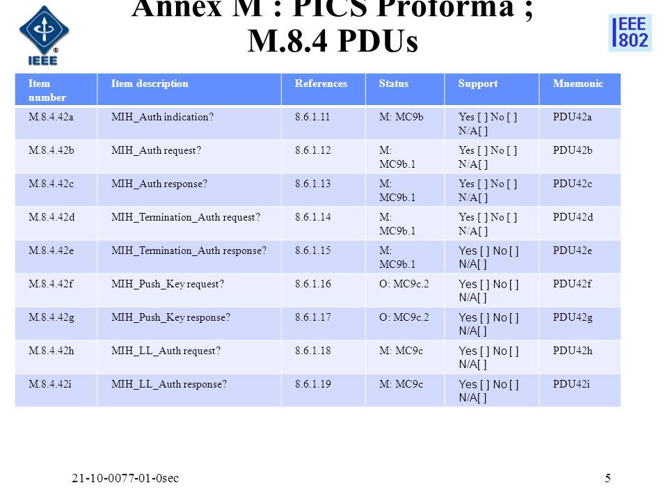 Annex M : PICS Proforma ; M.8.4 PDUs Item number Item descriptionReferencesStatusSupportMnemonic M.8.4.42aMIH_Auth indication 8.6.1.11M: MC9bYes [ ] No [ ] N/A[ ] PDU42a M.8.4.42bMIH_Auth request 8.6.1.12M: MC9b.1 Yes [ ] No [ ] N/A[ ] PDU42b M.8.4.42cMIH_Auth response 8.6.1.13M: MC9b.1 Yes [ ] No [ ] N/A[ ] PDU42c M.8.4.42dMIH_Termination_Auth request 8.6.1.14M: MC9b.1 Yes [ ] No [ ] N/A[ ] PDU42d M.8.4.42eMIH_Termination_Auth response 8.6.1.15M: MC9b.1 Yes [ ] No [ ] N/A[ ] PDU42e M.8.4.42fMIH_Push_Key request 8.6.1.16O: MC9c.2 Yes [ ] No [ ] N/A[ ] PDU42f M.8.4.42gMIH_Push_Key response 8.6.1.17O: MC9c.2 Yes [ ] No [ ] N/A[ ] PDU42g M.8.4.42hMIH_LL_Auth request 8.6.1.18M: MC9c Yes [ ] No [ ] N/A[ ] PDU42h M.8.4.42iMIH_LL_Auth response 8.6.1.19M: MC9c Yes [ ] No [ ] N/A[ ] PDU42i 521-10-0077-01-0sec