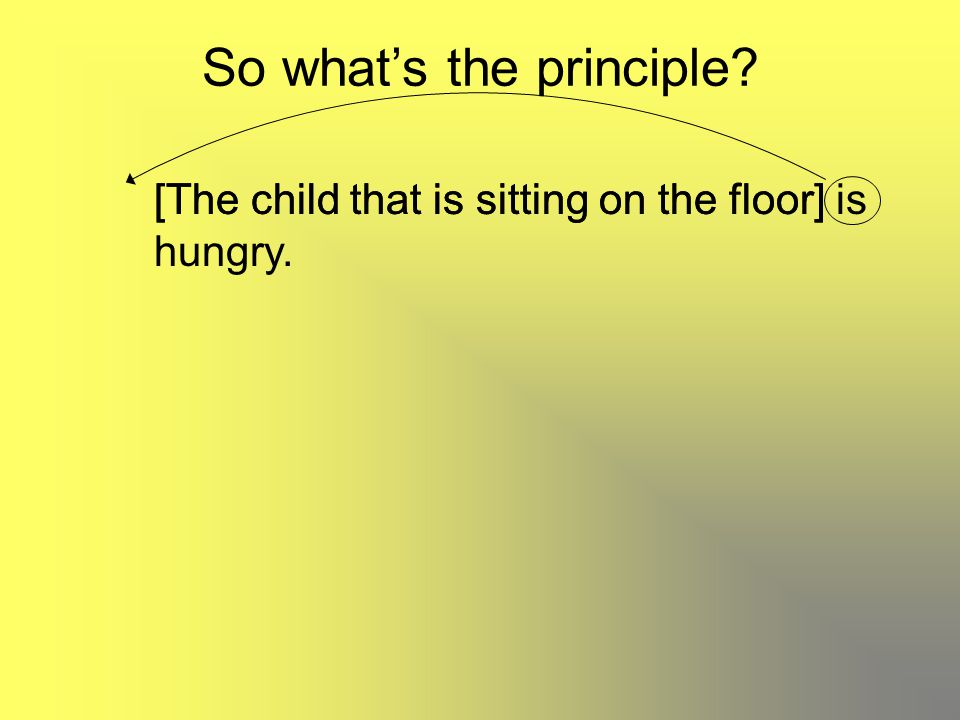 So what's the principle? [The child that is sitting on the floor] is hungry. [The child that is sitting on the floor]