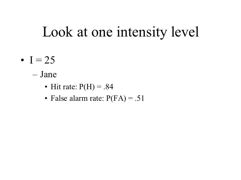 Look at one intensity level I = 25 –Jane Hit rate: P(H) =.84 False alarm rate: P(FA) =.51