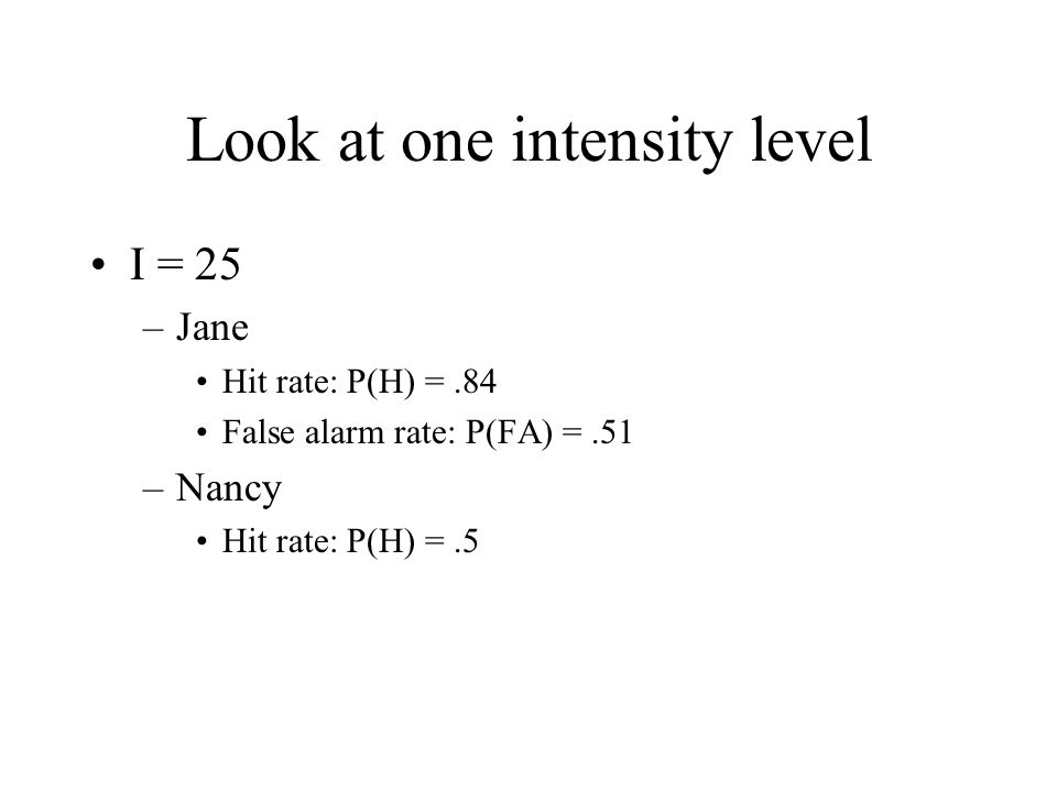 Look at one intensity level I = 25 –Jane Hit rate: P(H) =.84 False alarm rate: P(FA) =.51 –Nancy Hit rate: P(H) =.5