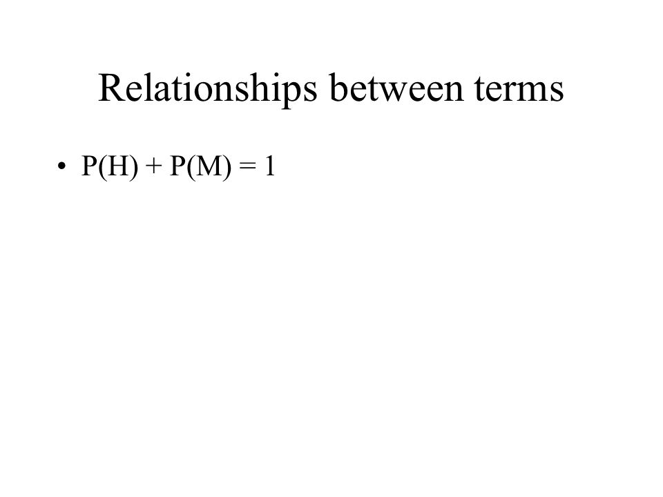 Relationships between terms P(H) + P(M) = 1
