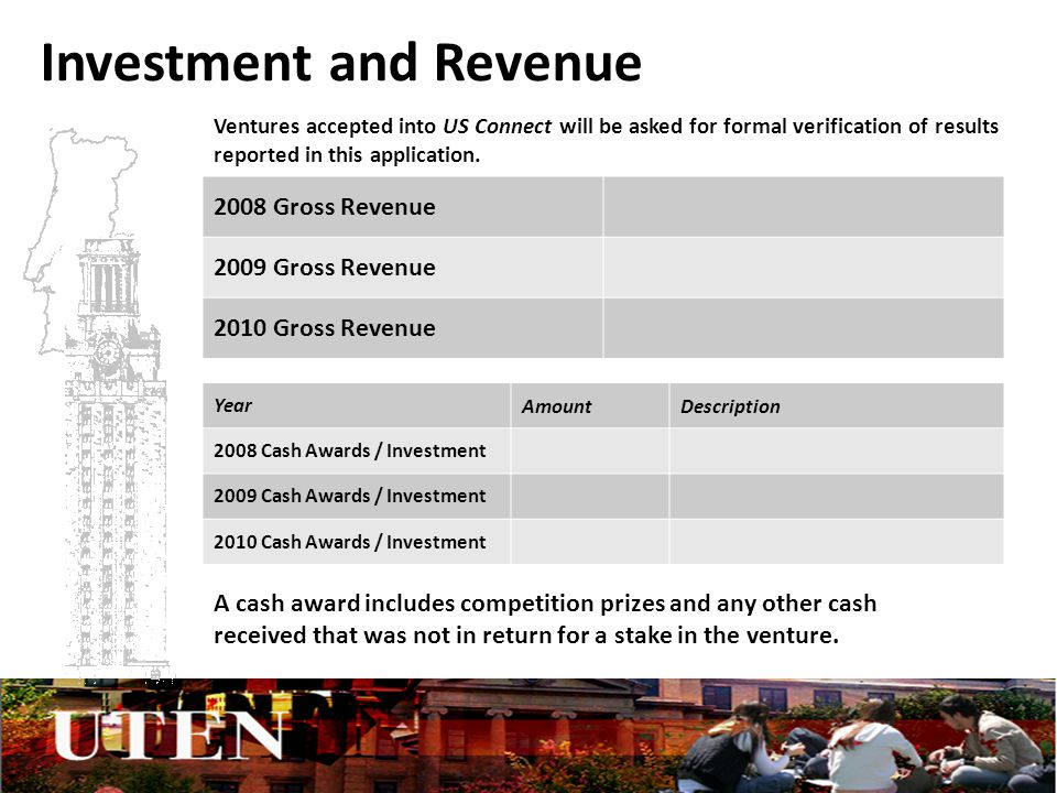 Investment and Revenue 2008 Gross Revenue 2009 Gross Revenue 2010 Gross Revenue YearAmountDescription 2008 Cash Awards / Investment 2009 Cash Awards / Investment 2010 Cash Awards / Investment A cash award includes competition prizes and any other cash received that was not in return for a stake in the venture.