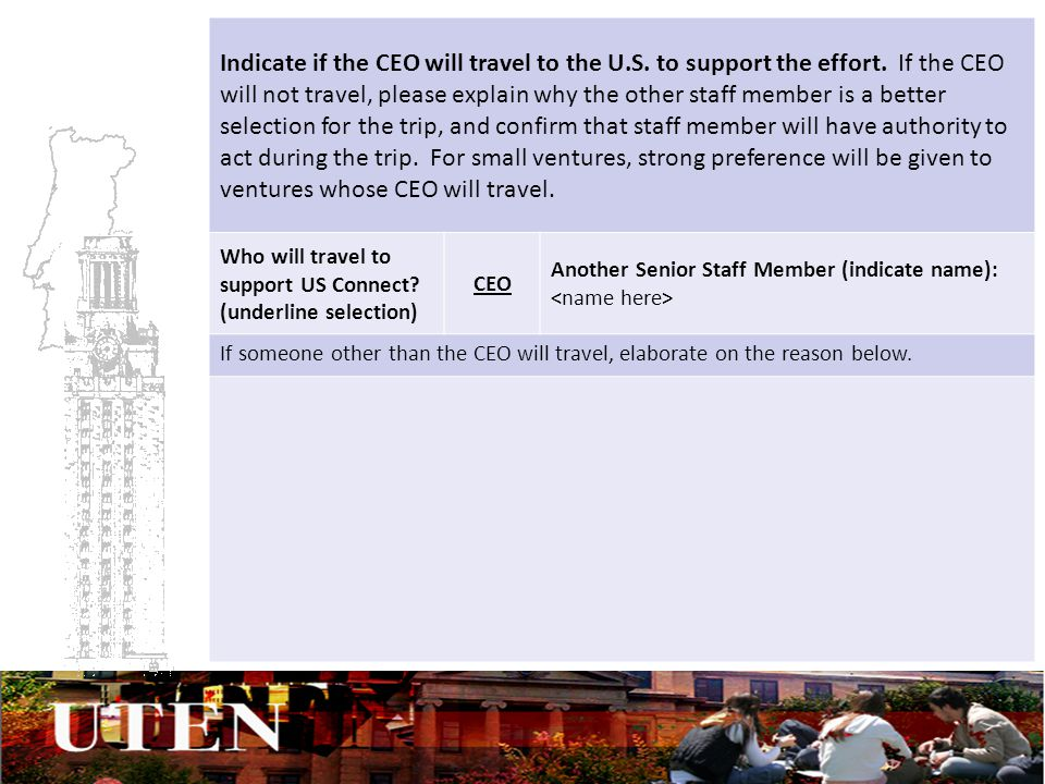 Indicate if the CEO will travel to the U.S. to support the effort.