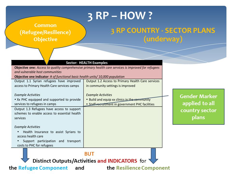 3 RP COUNTRY - SECTOR PLANS (underway) Common (Refugee/Resilience) Objective BUT Distinct Outputs/Activities and INDICATORS for the Refugee Component