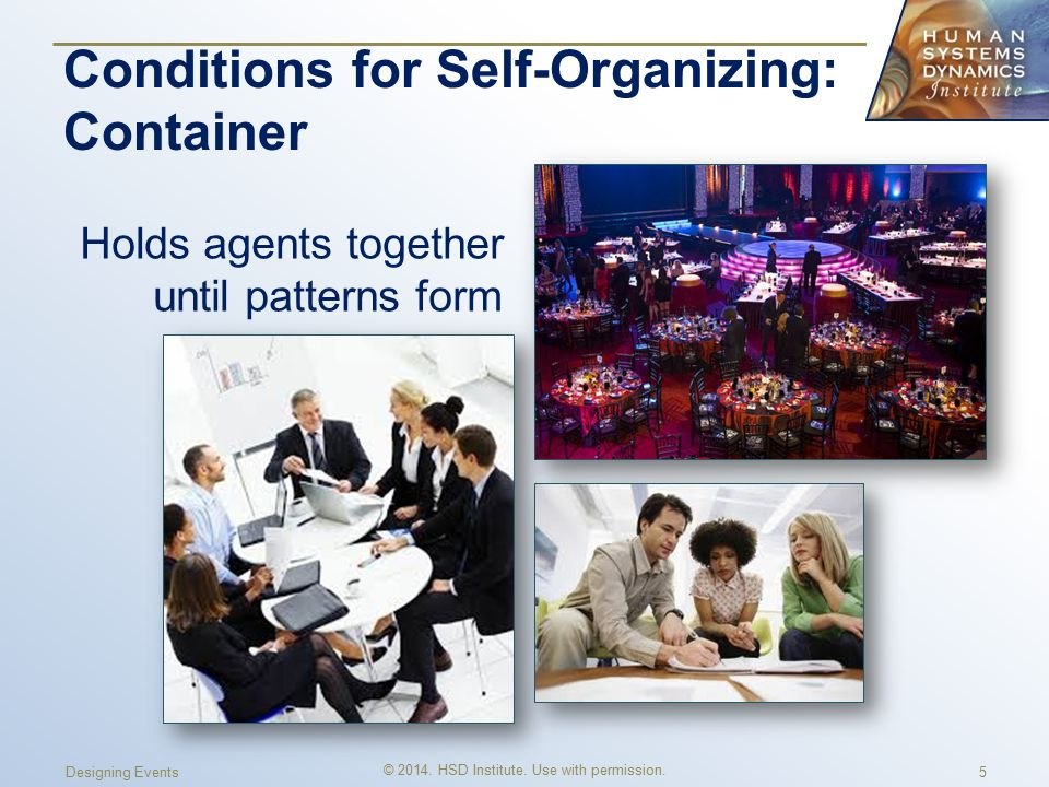 Conditions for Self-Organizing: Container Holds agents together until patterns form © 2014.