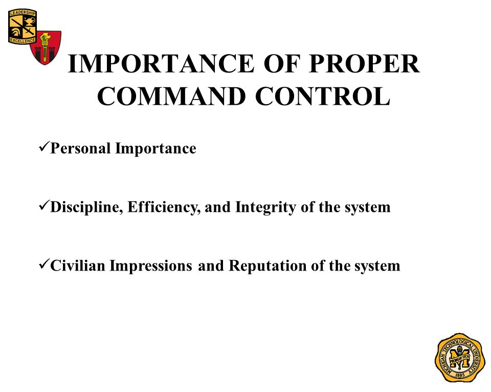 IMPORTANCE OF PROPER COMMAND CONTROL Personal Importance Discipline, Efficiency, and Integrity of the system Civilian Impressions and Reputation of the system