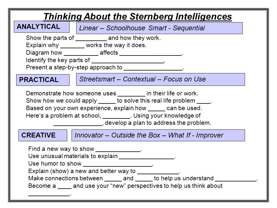 Linear – Schoolhouse Smart - Sequential ANALYTICAL Thinking About the Sternberg Intelligences Show the parts of _________ and how they work. Explain w