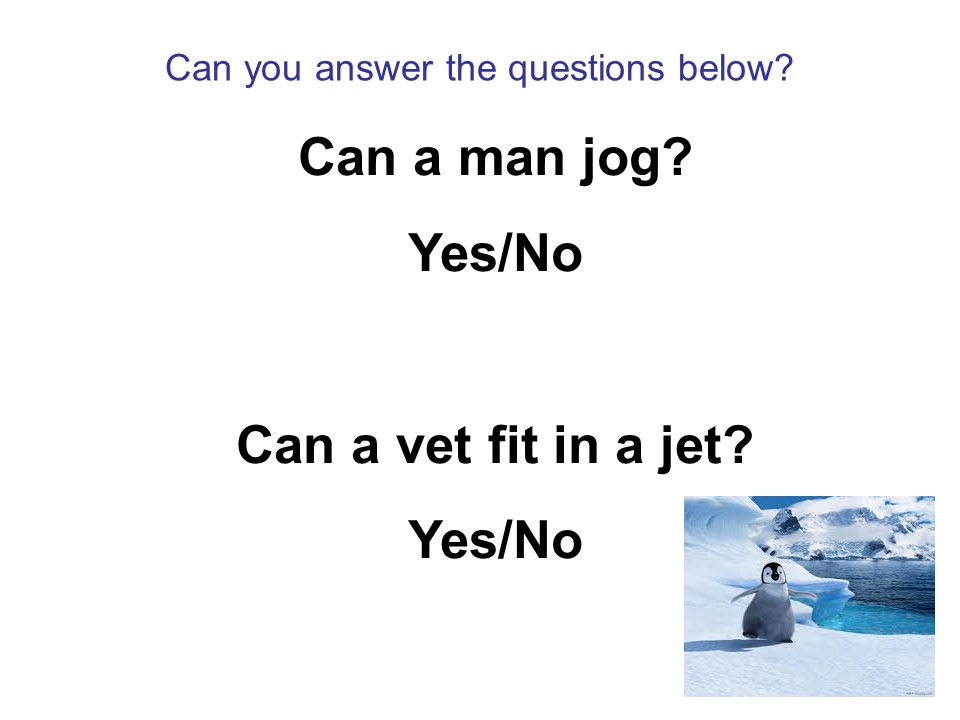 Can you answer the questions below Can a man jog Yes/No Can a vet fit in a jet Yes/No