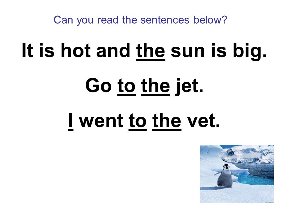 Can you read the sentences below It is hot and the sun is big. Go to the jet. I went to the vet.
