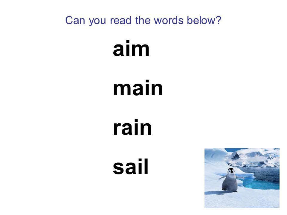 Can you read the words below aim main rain sail