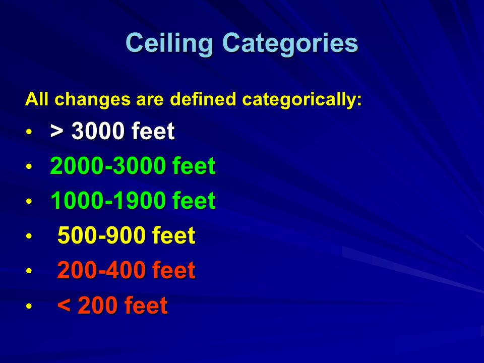 Ceiling Categories All changes are defined categorically: > 3000 feet > 3000 feet 2000-3000 feet 2000-3000 feet 1000-1900 feet 1000-1900 feet 500-900 feet 500-900 feet 200-400 feet 200-400 feet < 200 feet < 200 feet