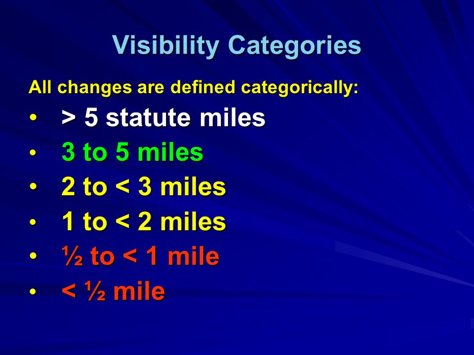 Visibility Categories All changes are defined categorically: > 5 statute miles > 5 statute miles 3 to 5 miles 3 to 5 miles 2 to < 3 miles 2 to < 3 miles 1 to < 2 miles 1 to < 2 miles ½ to < 1 mile ½ to < 1 mile < ½ mile < ½ mile