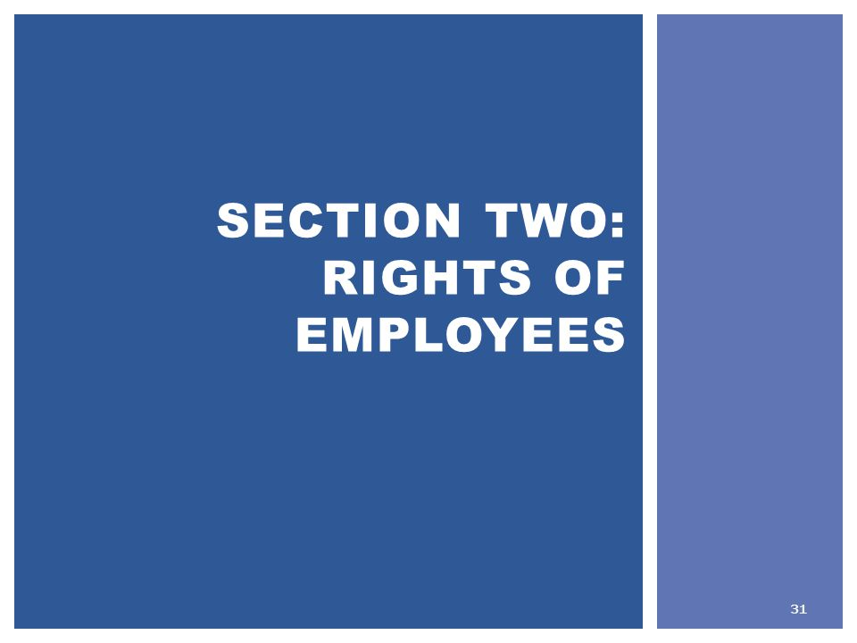 SECTION TWO: RIGHTS OF EMPLOYEES 31