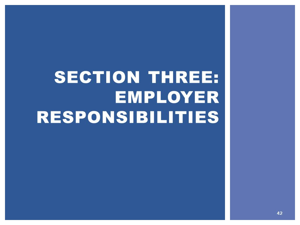 SECTION THREE: EMPLOYER RESPONSIBILITIES 42