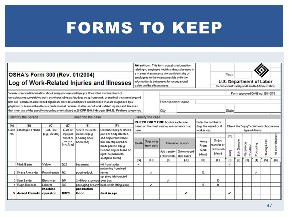 FORMS TO KEEP 47