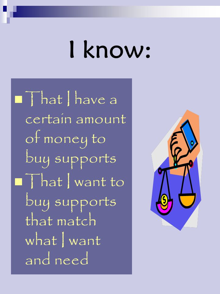 I know: That I have a certain amount of money to buy supports That I want to buy supports that match what I want and need