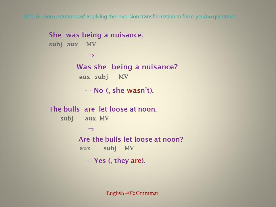 slide 17: Reed-Kellogg diagram of a declarative sentence with an aux English 402: Grammar
