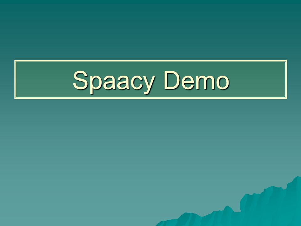 Spaacy Demo