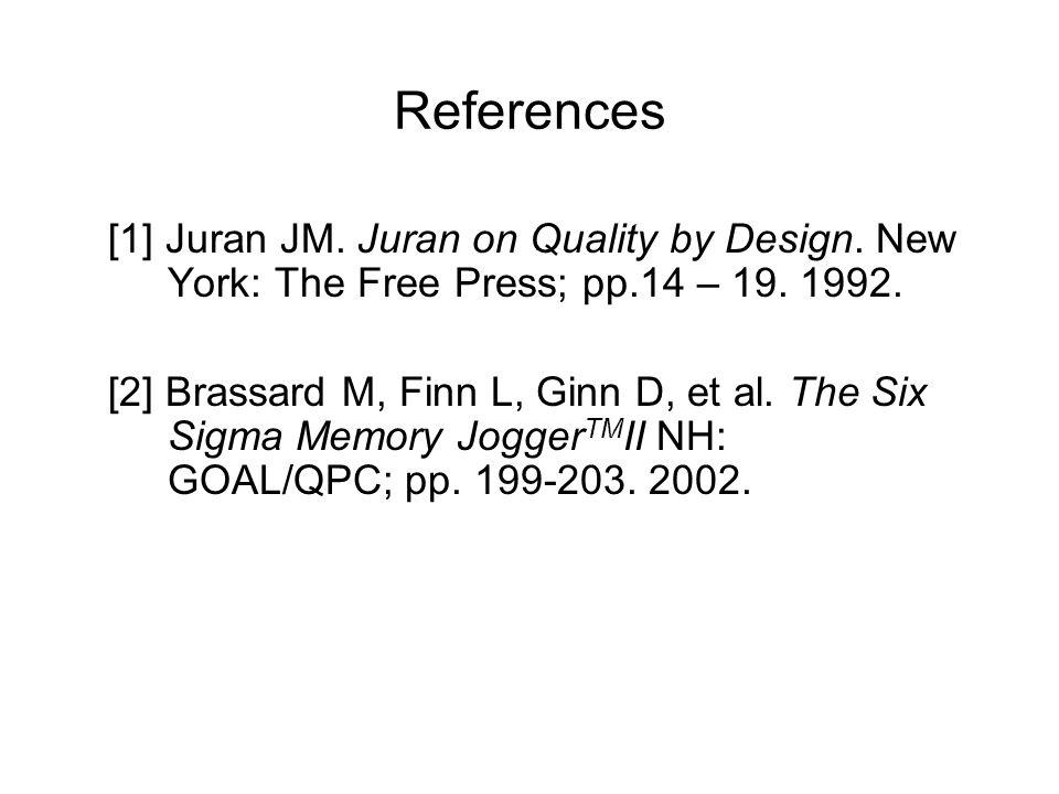 References [1] Juran JM. Juran on Quality by Design.