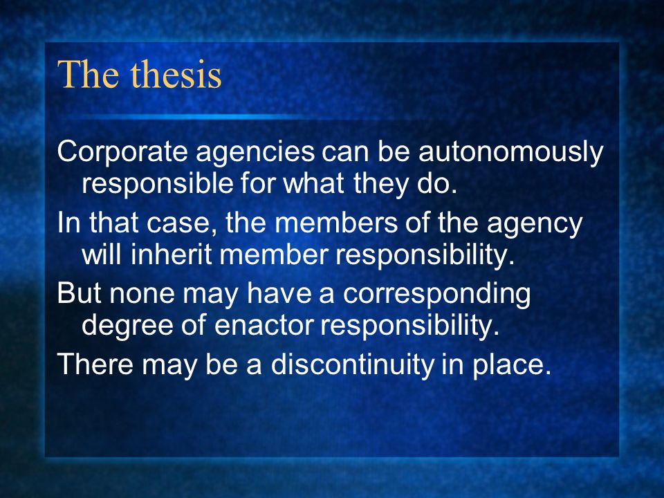 Plan Introduction Three conditions of responsibility.