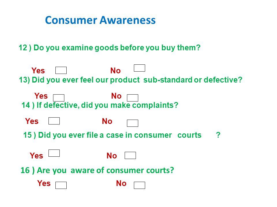 12 ) Do you examine goods before you buy them.
