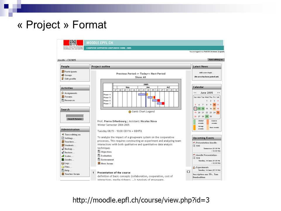 « Project » Format http://moodle.epfl.ch/course/view.php?id=3